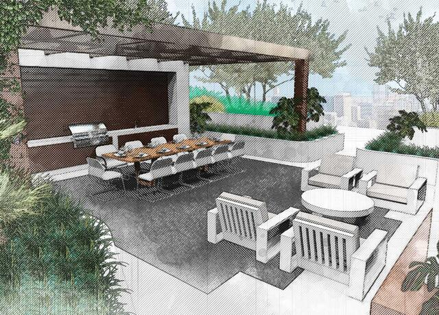 Sketching of landscape design of 7140 Collins Garden showing dinner area with lounge chairs surrounding with trees and plants