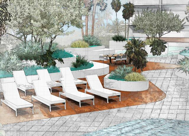 sketching of landscape design showing lounge chairs with plants and trees surrounding