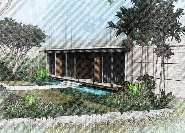 sketching of landscape design of tropical modern garden