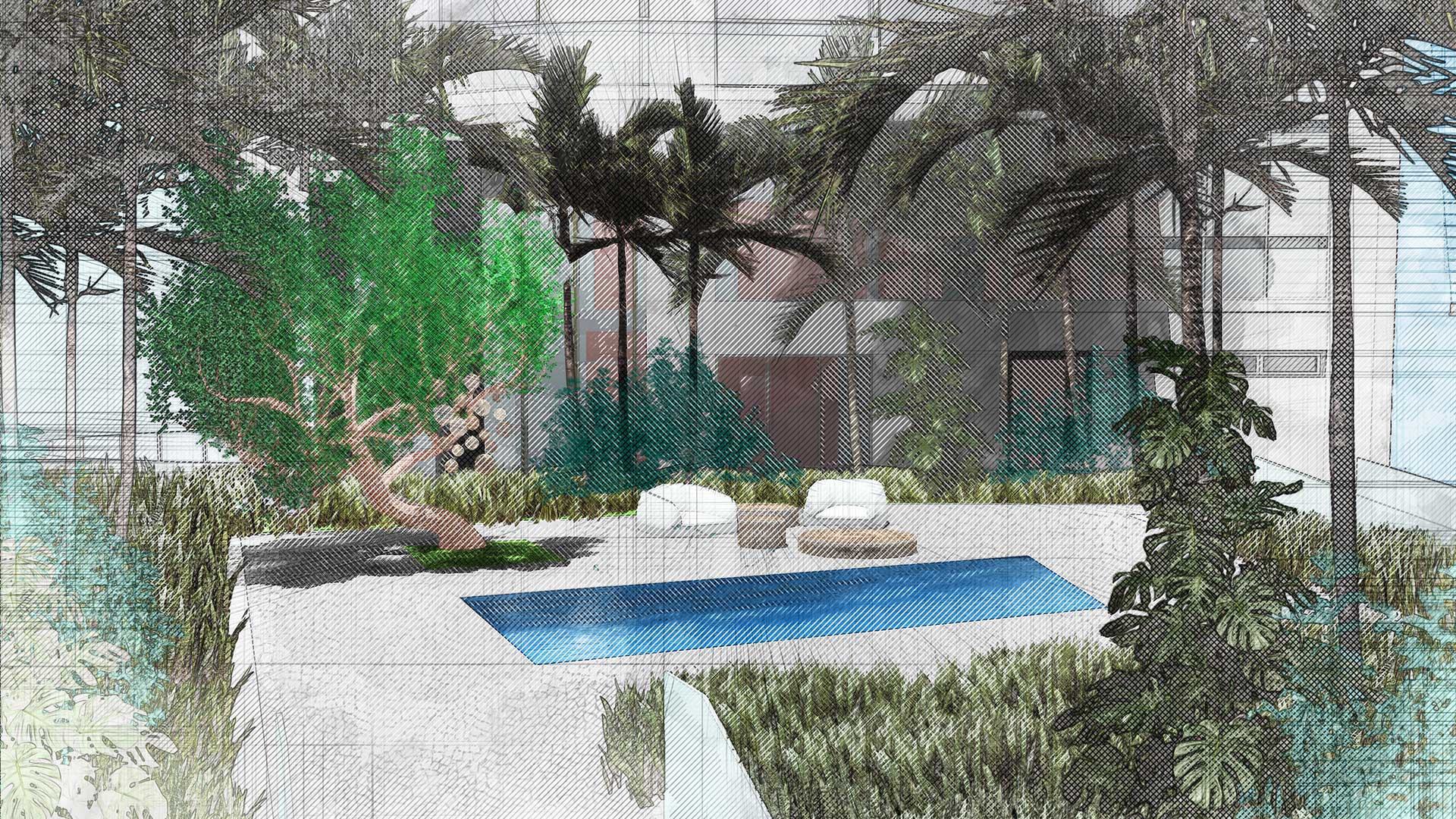 Sketching of landscape design of 7140 Collins Garden showing plants and trees