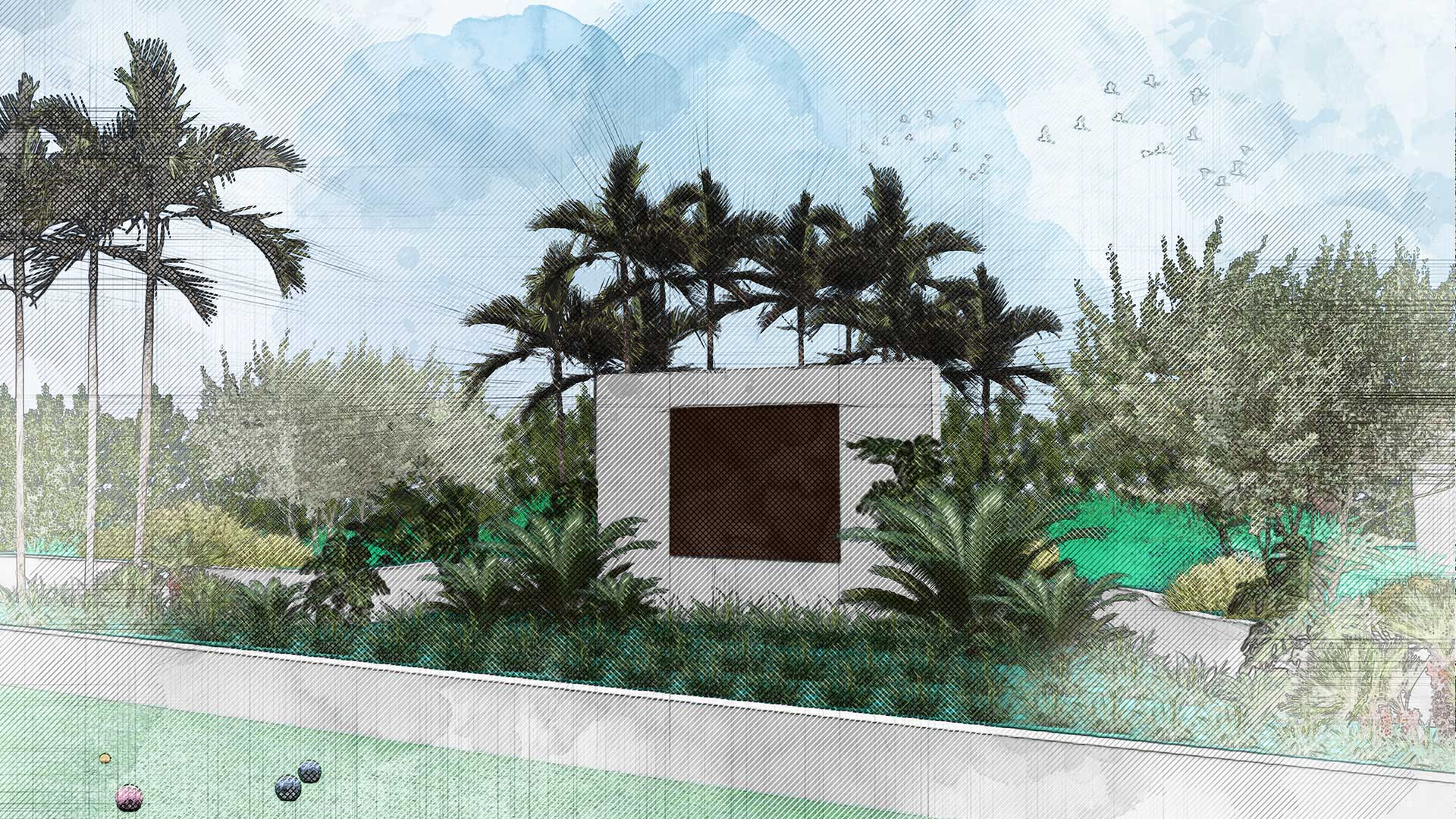 Sketching of landscape design of 7140 Collins Garden showing landscape