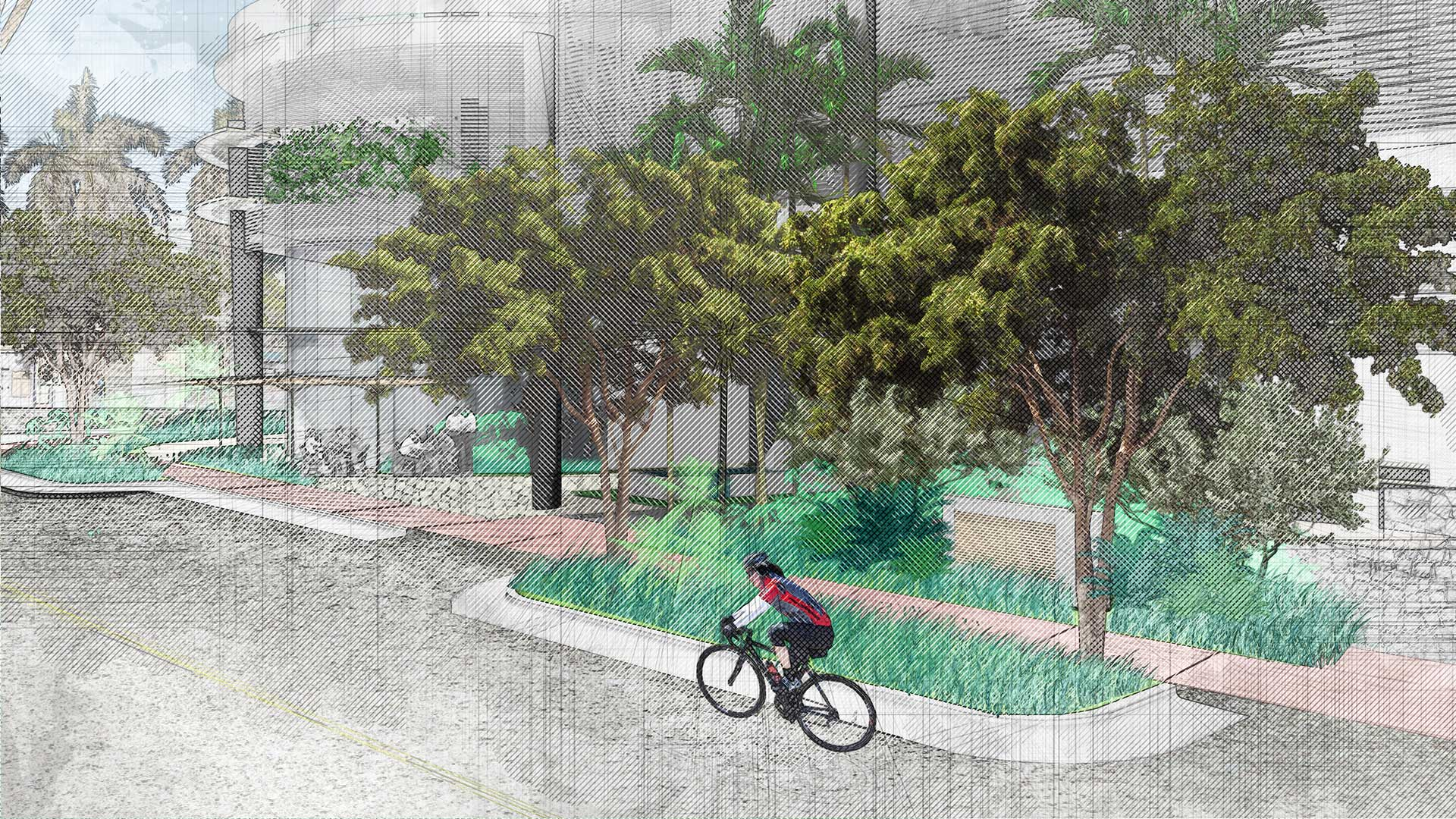 Sketching of landscape design of 7140 Collins Garden showing a biker in front of building