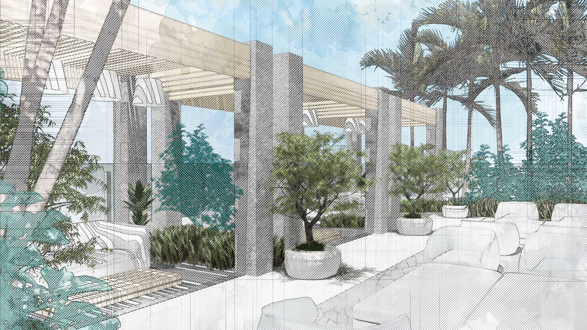 Sketching of landscape design of 7140 Collins Garden showing lounge area surrounded by plants in front of a building