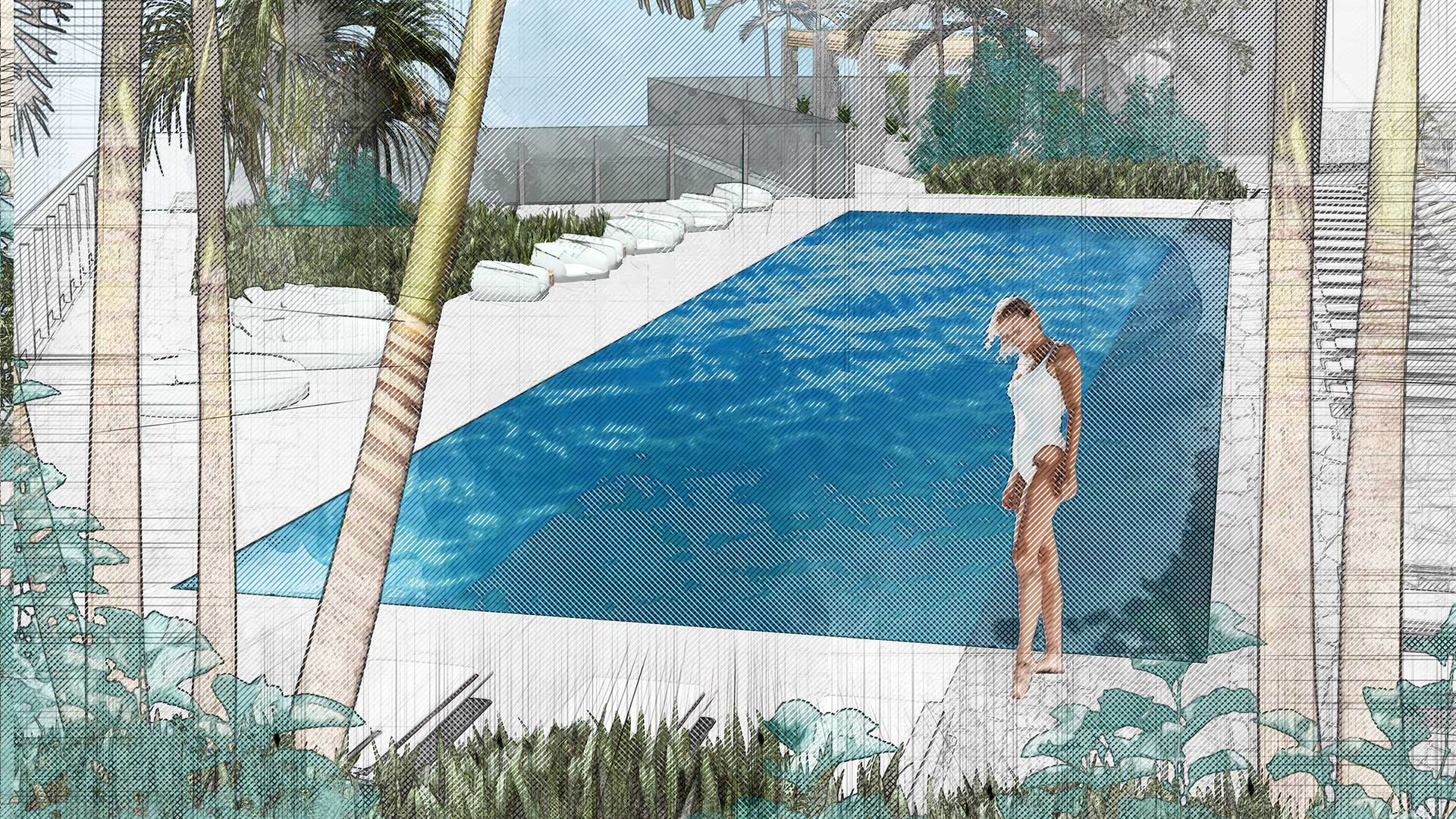 Sketching of landscape design of 7140 Collins Garden showing woman in front of pool with plants and trees surrounding