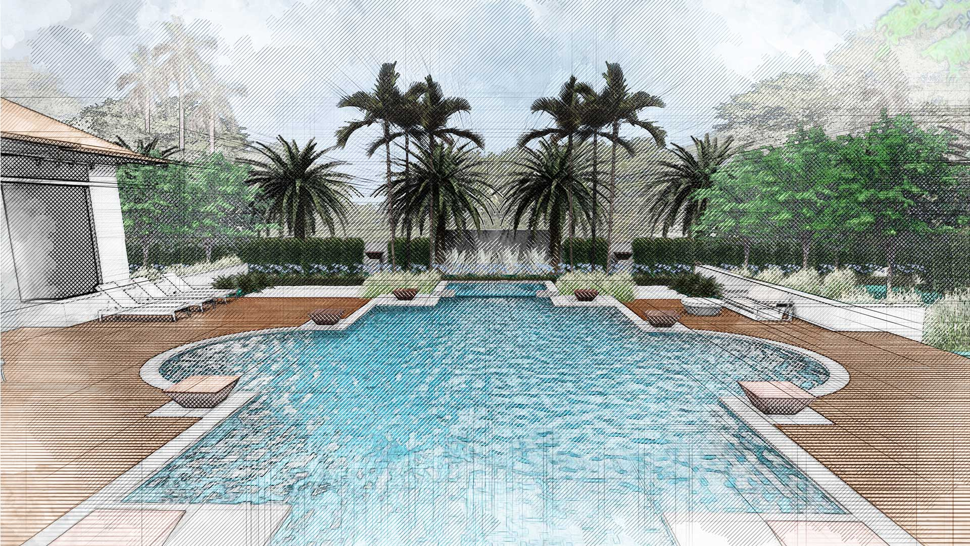 sketching of landscaping design showing a pool with deck and palmtrees
