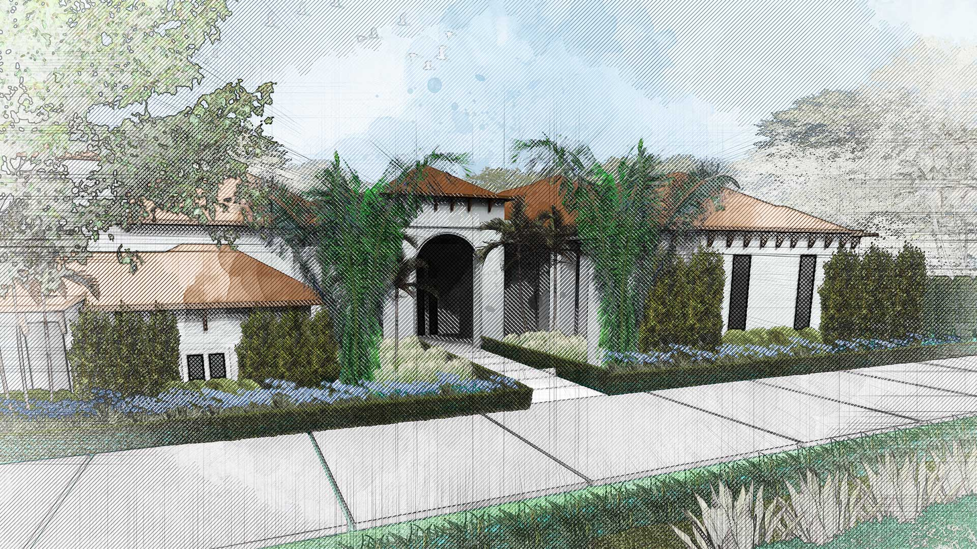 sketching of landscape design showing a house with plants