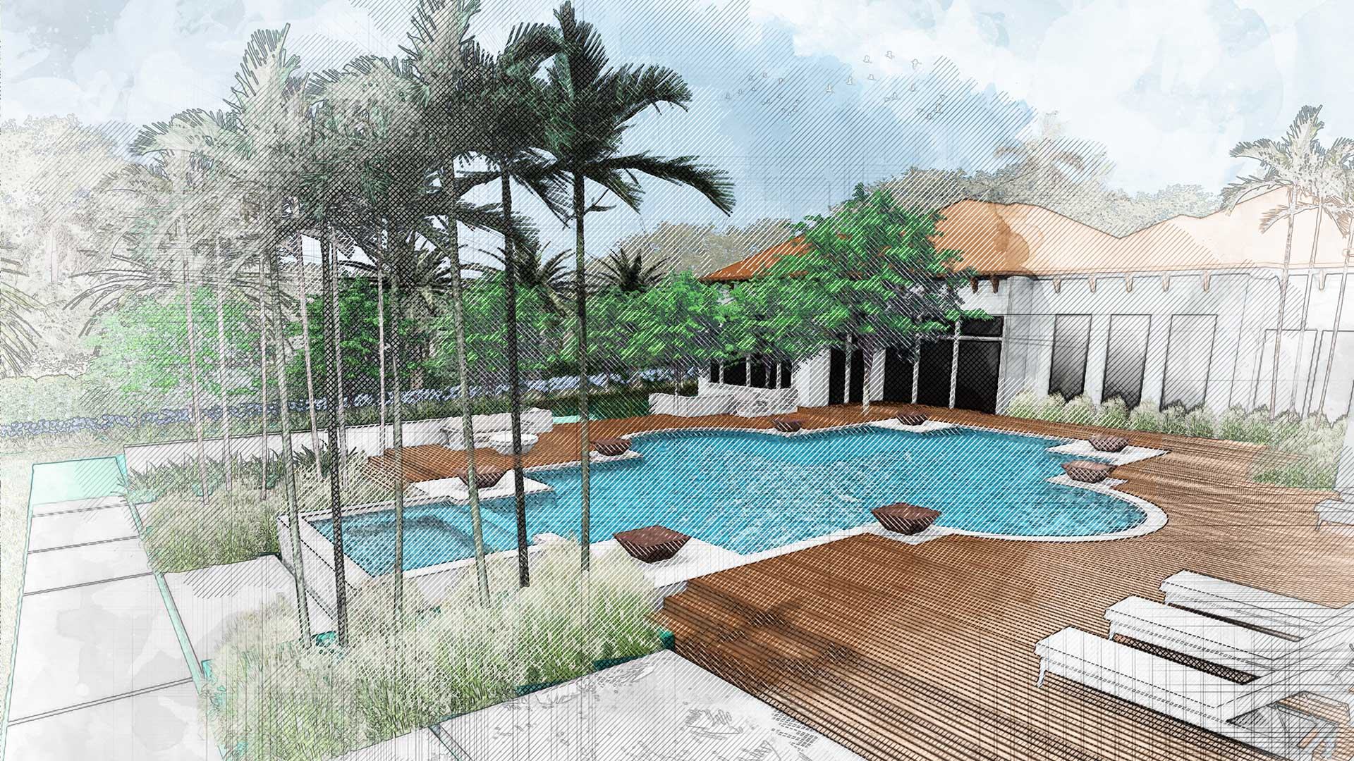 sketching of landscape design showing the backyard pool with loungechairs, plants and trees