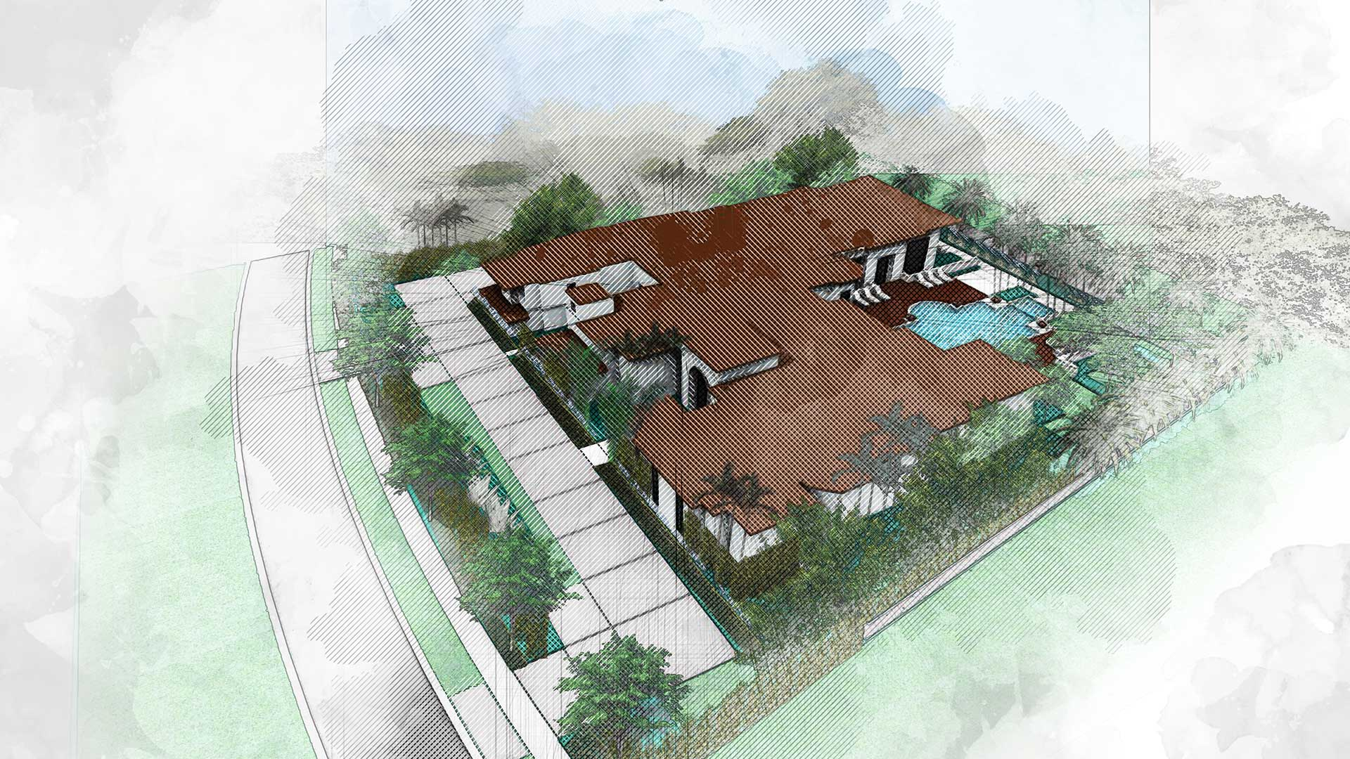 sketching of landscape design showing the aerial view of a house and its landscape